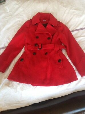 Girls F&F Red Coat. Age 9-10. Excellent Condition.