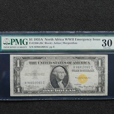 $1 1935 A  North Africa WWII Emergency Issue Silver Certificate PMG 30 Fr# 2306