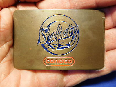 Vintage brass CONOCO Safety award belt buckle