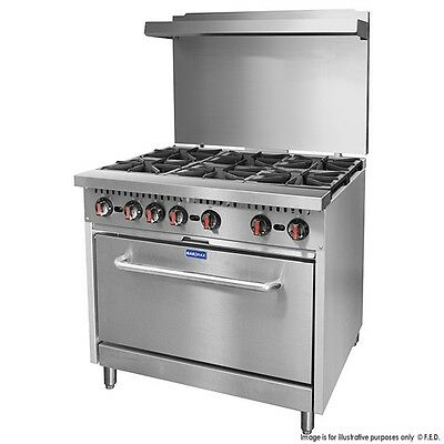 NEW Commercial 6 Burner Gas Stove with Oven