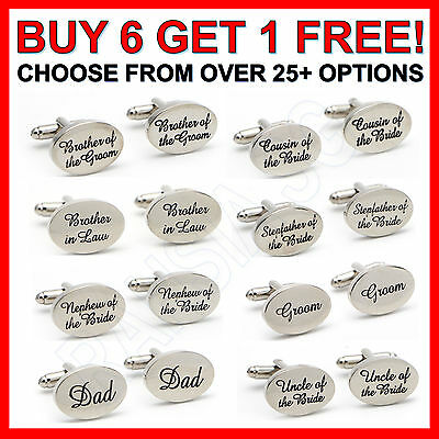 Silver Plated Mens Wedding Cufflinks Sets Cuff Links Personalised Groom Best Man