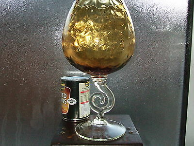 rare giant large retro 1960-70 gold amber brandy art glass unusual spiral stem