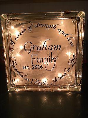 Personalized Lighted Glass Family Block