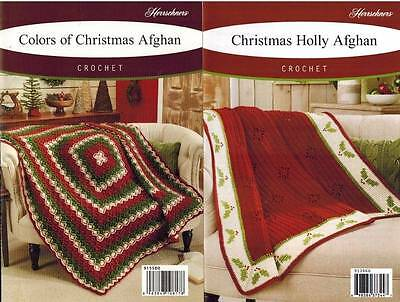 Christmas Afghan Crochet PATTERNS Herrschners Holly Throw Holiday Blanket Gift