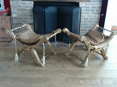 Wooden window seats (pair) gold gilt with cushions