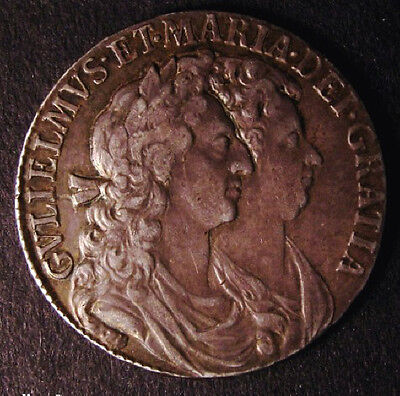 1689  GVF William and Mary Silver Half Crown Coin ESC 503 CGS 45