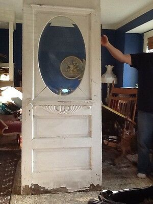Victorian Rare Antique Wood Front Door Oval Beveled Window Omaha Local Pickup