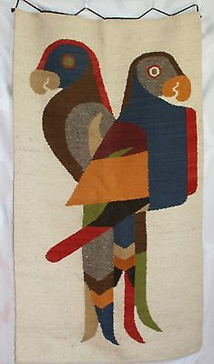Vintage 70's Hand Woven Wool Wall Hanging Textile Art  Parrot Design