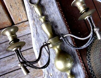 Vintage Solid Brass Candelabra Sconce Old Patina Nautical Weathered Shabby Chic