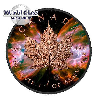 2016 1 oz Silver Butterfly Nebula - Maple Leaf Coin Ruthenium Rose Gold