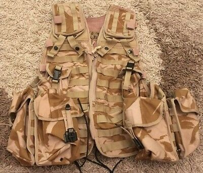 british military desert tactical load carrying vest with pouches