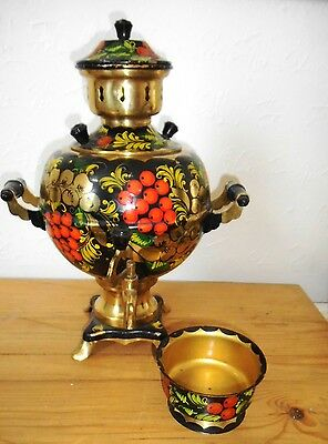 Hand painted electric Russian Samovar with dripping bowl, wooden handles VCG
