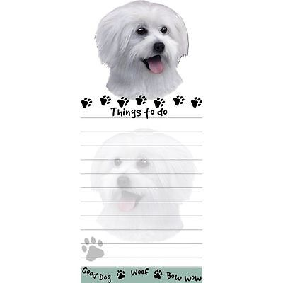 MALTESE DOG DIECUT LIST PAD NOTES NOTEPAD Magnetic Magnet Refrigerator puppy cut