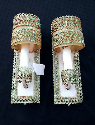PAIR VINTAGE 1930'S WALL SCONES  LIGHTS - MADE in USA -  NR