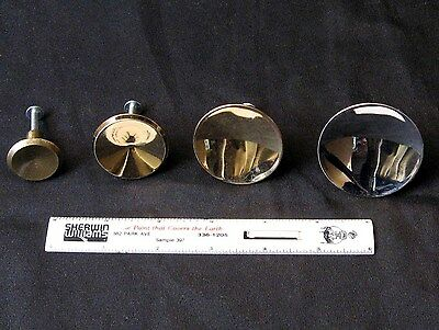4 Vintage Round Concave Pulls, A Foursome Of Different Sizes And Finish