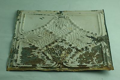 "One 12""x 12"" Architectural Antique Embossed Tin Ceiling Tile Unusual Design"