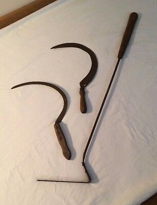 Antique Garden Tools (lot Of 3) Hand Held Sickle Scythe Metal with Wood Handles