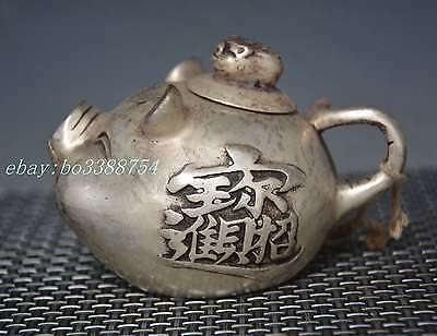 Chinese Old cupronickel Copper hand-made Lucky pig Teapot
