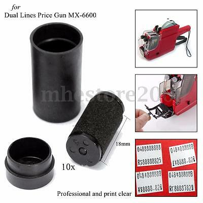 10pcs Price Tag Gun Refill Ink Rolls Ink Labeller Cartridge 18mm For MX-6600