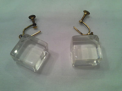 Vintage Screw On Ice Cube Clear Lucite Earrings