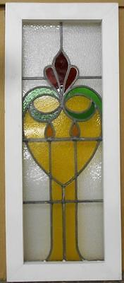 "LARGE OLD ENGLISH LEADED STAINED GLASS WINDOW Floral Heart 12.75"" x 30.75"""