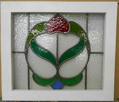 "OLD ENGLISH LEADED STAINED GLASS WINDOW Stunning Floral Design 20.75"" x 18"""