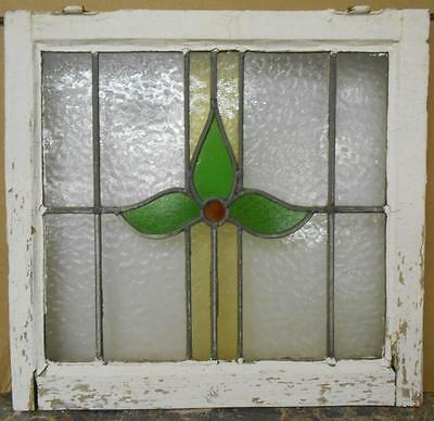 """OLD ENGLISH LEADED STAINED GLASS WINDOW Nice Floral Design 20"""" x 19"""""""