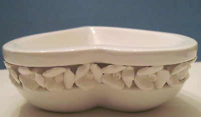 White Valentine Heart Bowl Dish  Trimed with Flowers New