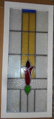 """LARGE OLD ENGLISH LEADED STAINED GLASS WINDOW Pretty Floral 16"""" x 39"""""""