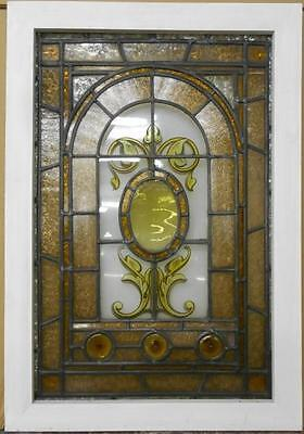 "VICTORIAN ENGLISH LEADED STAINED GLASS WINDOW Pretty Handpainted 20.75"" x 29.75"""