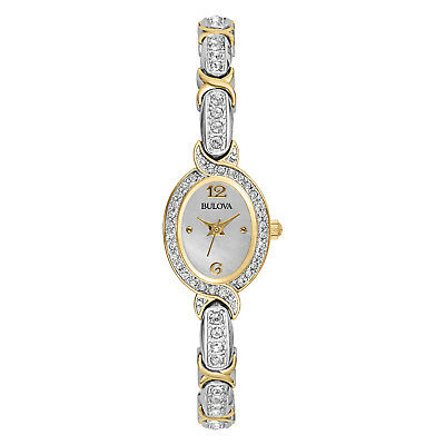 Bulova Women's 98L005 Quartz Silver and Gold Tone Crystal Accents 22mm Watch