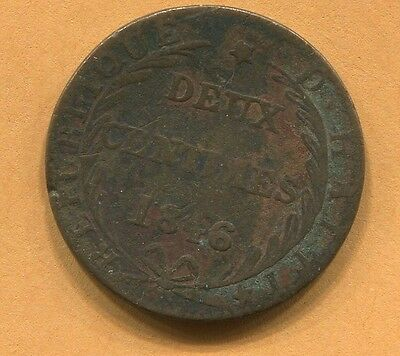 1846 Two Centimes Coin From Haiti
