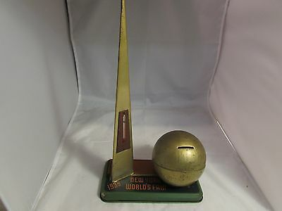 1939 New York World's Fair Tin Bank With Thermometer