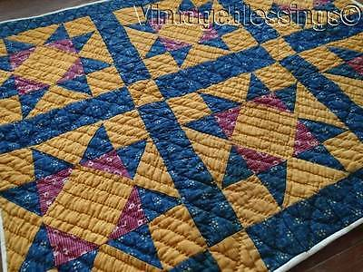 Glorious Color! Rich Antique Indigo Blue And Cheddar Star Crib or Table Quilt