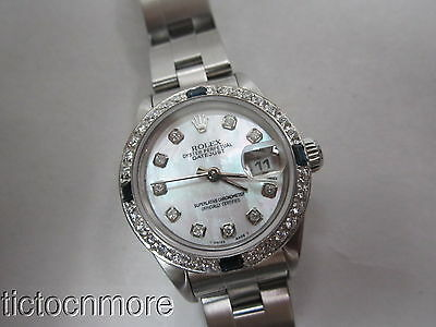 Rolex Oyster Datejust Mop Dial Sapphire & Diamond Bezel Watch Ladies Cal.2135