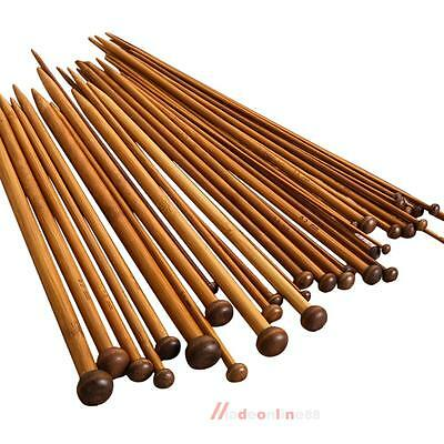 Set of 36Pcs Single Pointed Bamboo Knitting Needles 2mm -10mm x25cm Weaving Tool
