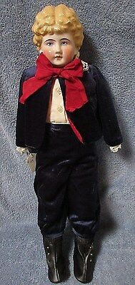 Antique China Pink Luster Boy Doll w Deep Curls, Velvet Outfit, w Muslin Body