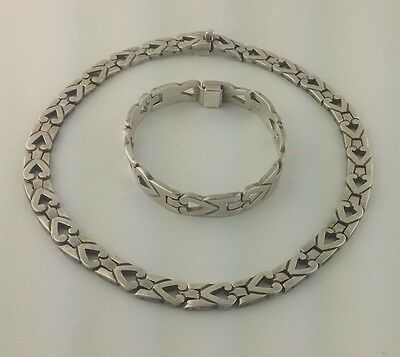 Taxco Mexico Sterling Silver Heart Link Choker & Bracelet, AMR TH-21