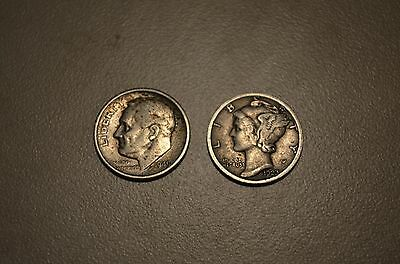 2 Different Silver Dime Types Lot 1949S Roosevelt / 1923 Mercury