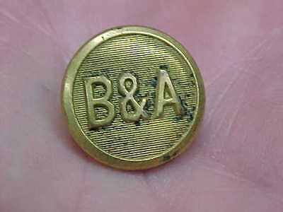 """Vintage Old Railroad Marked """"b & A"""" Brass Button"""