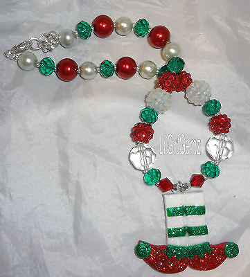NEW girls glitter christmas ELF clay beaded necklace boutique custom gift