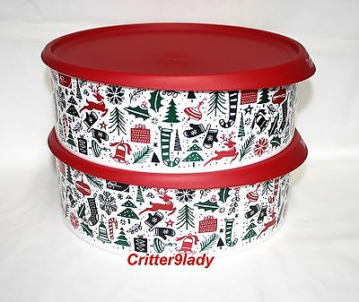 NEW Tupperware Christmas Cookie Canister set of 2 lids easy open close
