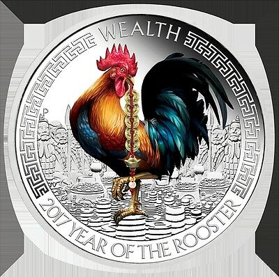 2017 Year of the Rooster Wealth and Wisdom two 1oz Silver Proof Coins Perth Mint