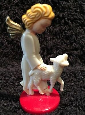 Vintage German Celestial Angel Walking with Lamb Ornament Decoration, Red Base