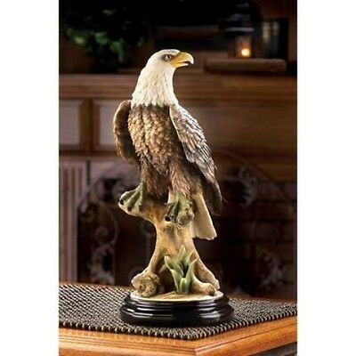 NEW Mountain American Bald EAGLE Wood Base Statue Art Sculpture Figurine 14017