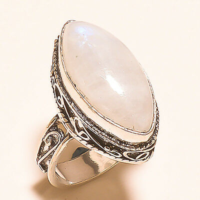 "Rainbow Moonstone Vintage Style 925 Sterling Silver Ring ""8.3"""