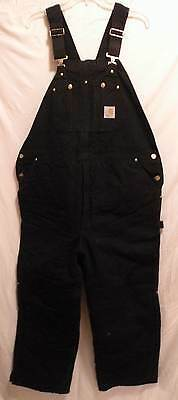 Carhartt Arctic Bib Overalls Black Quilt Lined Heavy R03 Yukon Extreme 44 X 30