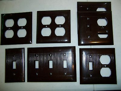 Mixed Lot of 7 Vintage Ribbed Bakelite SWITCH PLATES * SIERRA Electric * Brown