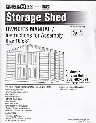 Duramax Storage Shed Owner's Manual   Size 10' x 8'