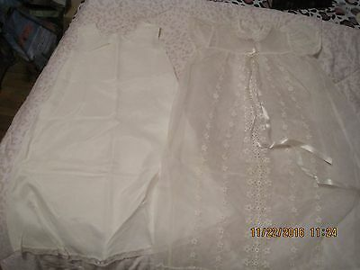 Vintage Christening / Baptism Gown & Slip!  Great For Doll Display!